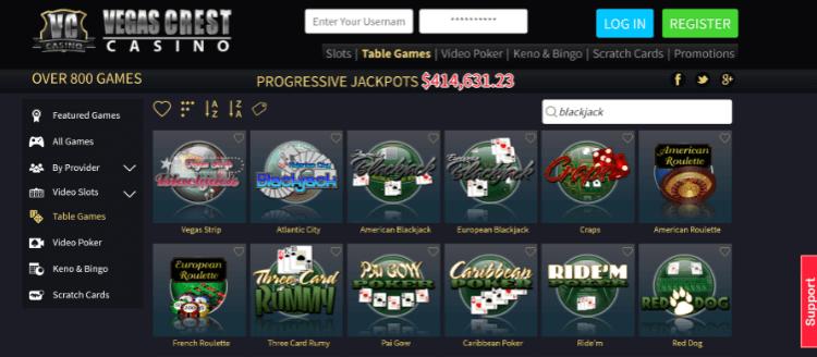 Vegas Crest Blackjack Games